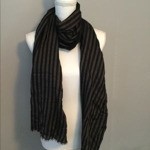 Black and Gray Striped Scarf - will bundle scarves